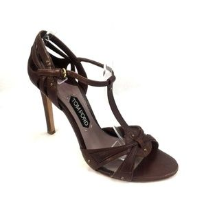 TOM FORD T Strap Brown Sandal Open Toe Leather 41